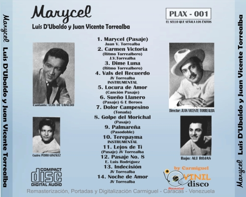 Marycel Lus D'Ubaldo con JV Torrealba Cd Back