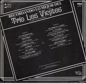 Contraportada, Recordando lo Mejor Del Trio Los Viejitos, Versiones Originales