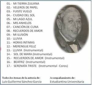 CANCIONES DE LUIS GUILLERMO SANCHEZ B